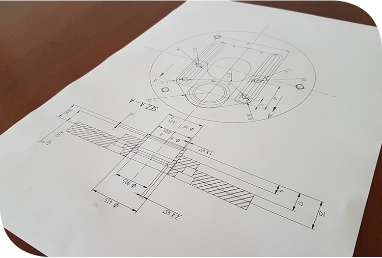 engineering drawing race car suspension top mount